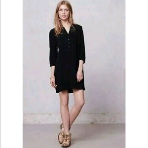 Anthropologie Maeve Taryn Black Button Dress